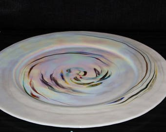 Vintage White Swirled Art Glass Serving Plate
