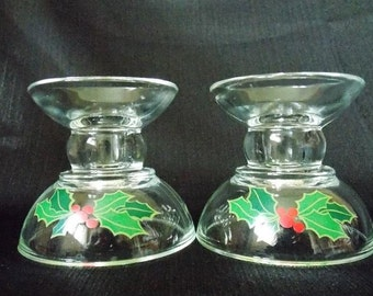 Avon Christmas Holly Berry  Candle Holders, Pair