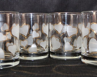 Culver-Signed Mid-Century Gold & Frosted Heart Old Fashioned Cocktail Glasses, Set of 4