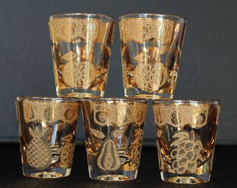 Culver Mid-Century 22 K Gold Florentine Shot Glass Set, Set of 5