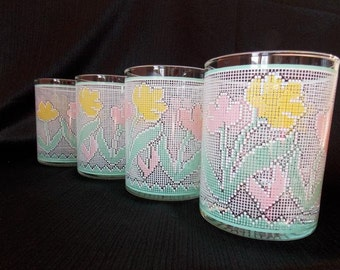 Culver-Signed Mid-Century Needlepoint Floral Rocks Glasses, Set of 4