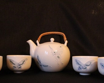Vintage Porcelain Butterfly Tea Set, 5 Piece Set