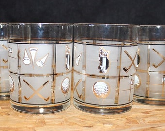 Culver-Signed Mid-Century Fairway Golf  Double Old Fashioned Glasses, Set of Four