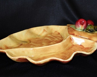 California Pottery Yellow Chip & Dip Serving Platter