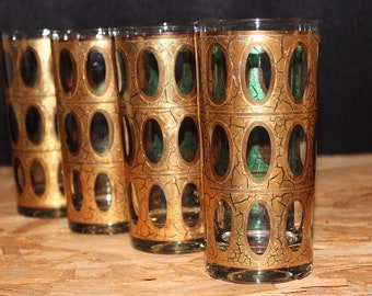 Culver Mid-Century 22K Gold Pisa Tumbler Cocktail Glasses, Set of 4