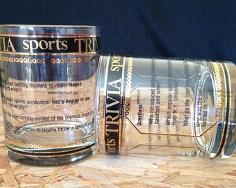 Culver-Signed Mid-Century Sports Trivia Old Fashioned Bar Glasses, Two Piece Set