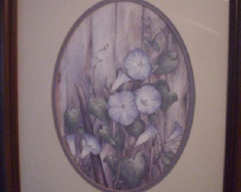 Vintage Carmel Foret Morning Glories Framed Print, Signed and Numbered