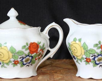 Vintage German Floral Creamer and Sugar Set