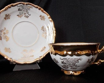 Vintage Porcelain Gold Floral Tea Cup and Saucer Set