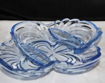Vintage Cambridge Caprice Moonlight Blue Celery Dish