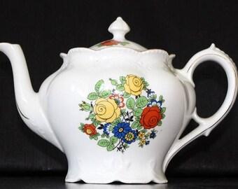 Vintage Hand Painted German Ceramic Teapot