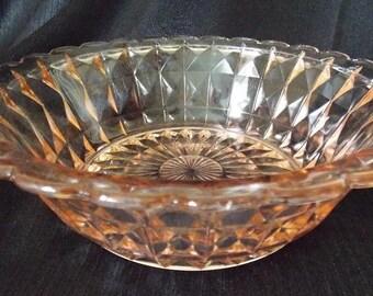 Jeannette  Glass Windsor Diamond Pink Serving  Salad Bowl