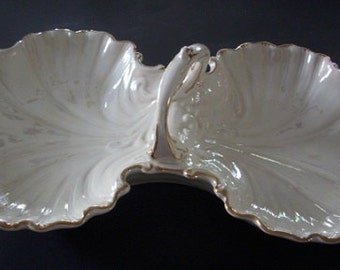 Mid-Century White Divided Double Shell Serving Bowl