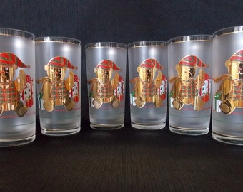 Culver-Signed Mid-Century  Frosted & 22k Gold Christmas Teddy Bear Tumbler Cocktail  Glasses, Set of 6