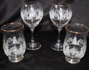 Vintage Libbey Arby's Frosted Winter Tree Tumbler and Wine Glass Set, Set of Four