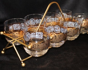 Culver-Signed Mid-Century Coronet Roly Poly Glass and Caddy Set, 9 Piece Set