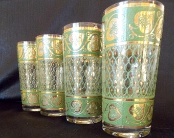 Culver-Signed Mid-Century 22K Gold & Green Ivy Highball Cocktail Glasses, Set of 4