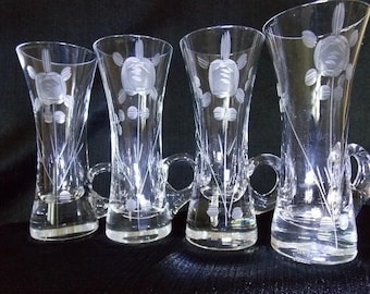 Vintage SIP Bulgaria Etched Shot Glasses, Set of 4