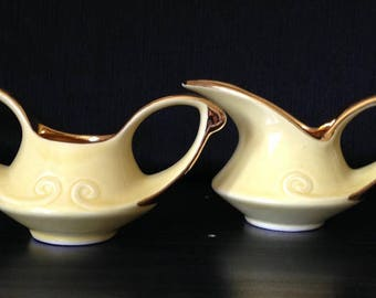 Vintage Art Deco Yellow Creamer and Sugar Bowl Set