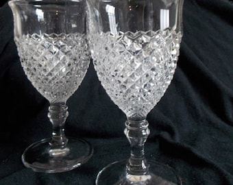 Westmoreland English Hobnail Clear Water Goblets, Pair