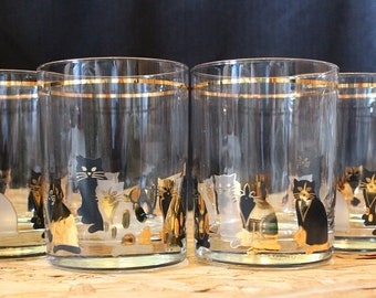 Culver-Signed Mid-Century Cat Rocks Glasses, Set of Four