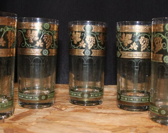 Featured listing image: Cera-Signed Mid-Century  Golden Grape Green Highball Glasses, Set of Five