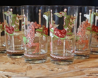 Georges Briard- Signed Mid-Century Carousel Horses Highball Cocktail Glasses, Set of 6