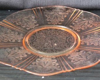 Pink  Depression American Sweetheart Glass Cake Platter