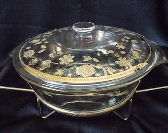 Culver-Signed Anchor Hocking / Fire King  Mid-Century Chantilly 2 Quart Casserole Chafing Dish and Warming Stand