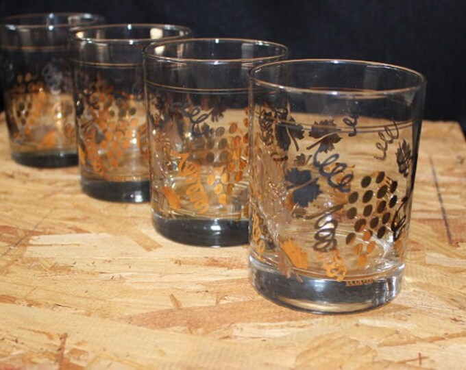 Featured listing image: Culver-Signed Mid-Century 22K Gold Vineyard Double Old Fashioned Glasses, Set of 4