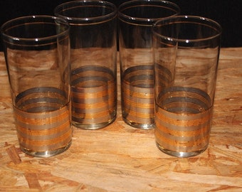 Culver-Signed Gold & Silver Band Highball Cocktail Glasses, Set of 4