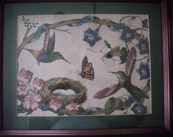 Original Vintage Needlework  Hummingbird and Butterfly Framed Fiber Art Wall Hanging