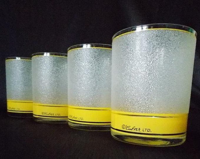 Featured listing image: Culver-Signed Mid-Century Frosted & Yellow Rocks Bar Glasses, Set of 4