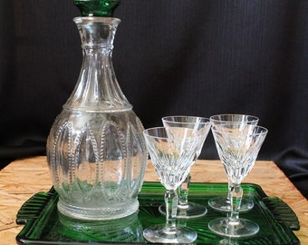 Vintage Decanter and Glasses Set, 6 Piece Set