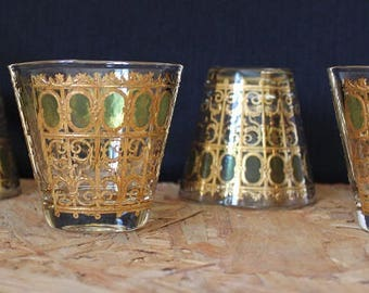 Culver-Signed Mid-Century Emerald Scroll Whiskey Glasses, Set of 4