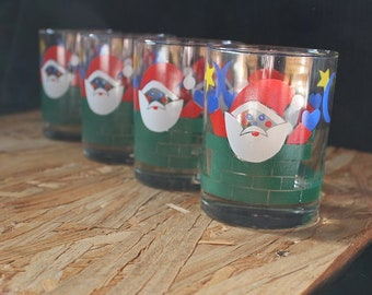 Georges Briard-Signed Mid-Century Santa Chimney Old Fashioned Christmas Glasses, Set of 4