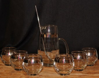 Mid-Century Silver Rimmed Roly Poly Cocktail Glass, Set of Four