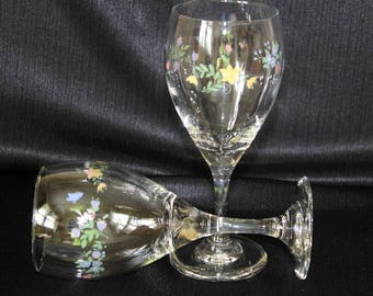 Vintage Hand Painted Floral Wine Glasses, Pair
