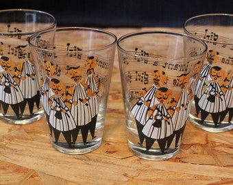 Gay Fad-Signed Mid-Century Barbershop Quartet Whiskey Glass Set, Set of Four