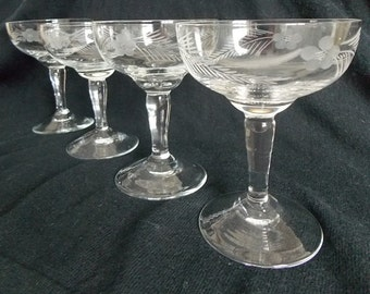 Vintage Etched Coupe Glasses, Set of 4
