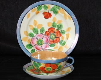 Vintage Hand Painted Floral Teacup and Saucer Trio, Made in Japan