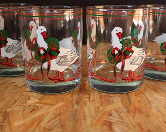 Cera-Signed Mid-Century Christmas Goose and Wreath Rocks Glasses, Set of 4
