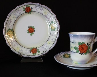 Vintage Bavaria Demitasse Tea Cup Set, 3 Piece Set