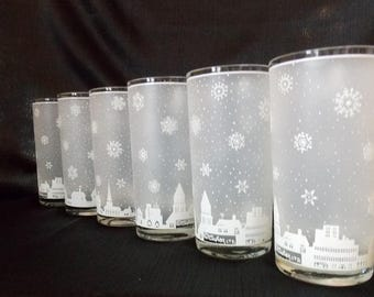 Culver-Signed Mid-Century  Snowy Village Highball Cocktail Glasses. Set of 6