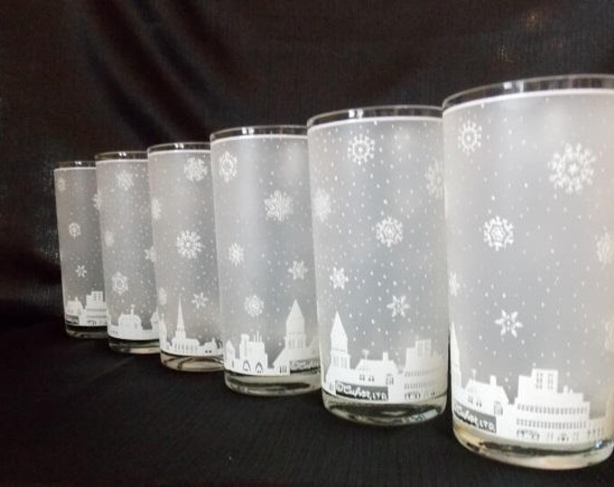 Featured listing image: Culver-Signed Mid-Century  Snowy Village Highball Cocktail Glasses. Set of 6
