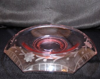 Pink Depression Glass Rolled Edge Centerpiece  Bowl
