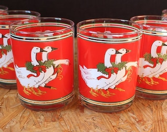 Culver-Signed Mid-Century Christmas Geese Double Old Fashioned Glasses, Set of 6