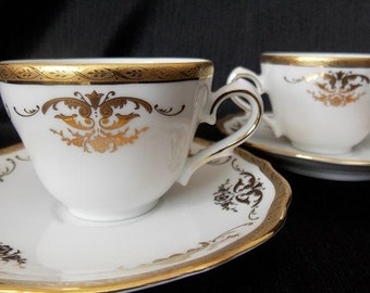 Bavaria Tirschenreuth Demitasse Porcelain Teacup and Saucer Set, 4 Piece Set