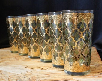 Culver-Signed Mid-Century Green & 22k Gold Valencia Tumbler Cocktail Glasses, Set of 6