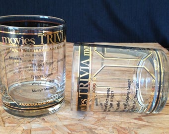 Culver-Signed Mid-Century Movie Trivia Old Fashioned Bar Glasses, Two Piece Set